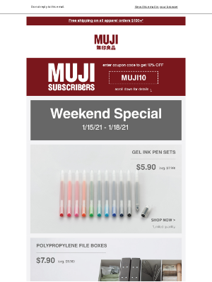 MUJI - Select Stationery on sale this weekend only.