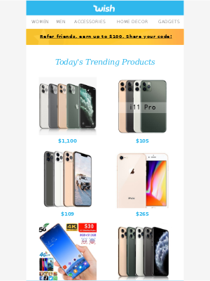 Wish - 1 hour to get a new iPhone, Samsung 📱, LG Smartphone, Blu Phone for $60 ...