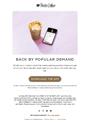 Peet's Coffee - Because we love free delivery so much...