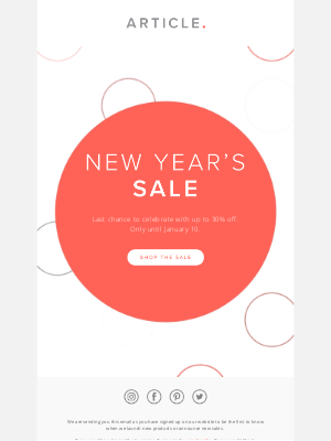 Article - Last chance to save — our New Year's Sale ends soon