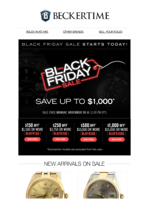 BeckerTime - Save up to $1,000 - Black Friday Sale Starts Today!