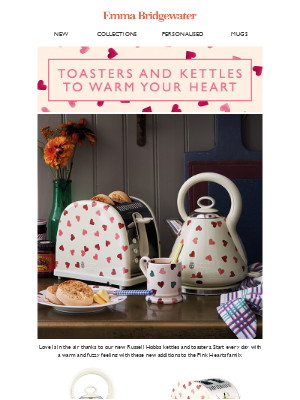 Emma Bridgewater (UK) - New in! Pink Hearts Toasters & Kettle