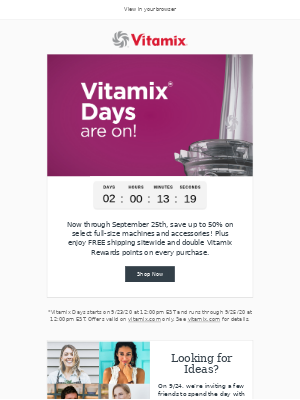 Vitamix - It's here! Save up to 50% on Vitamix Products.