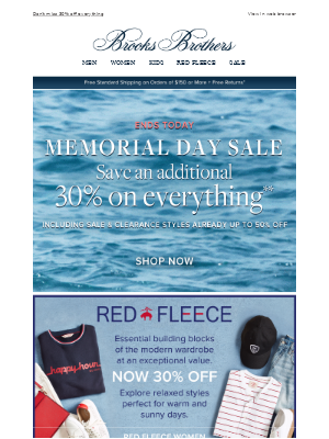 Ends today: Save 30% during our Memorial Day Sale
