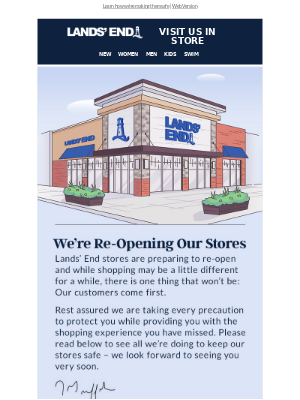 Stores are opening soon - a note from our CEO