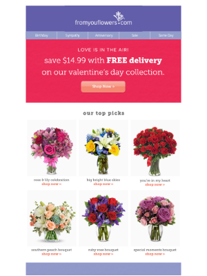 From You Flowers - Valentine's Pre-Sale! Free Delivery Sitewide ($14.99 value)