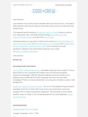 Code Crew - Code Crew Newsletter: Intro to Python, Javascript Programming + More!