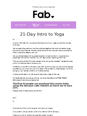 Fab - Reminder - save 25% on our Yoga course