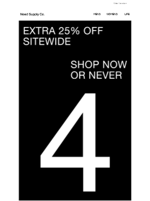 Need Supply Co. - 4 DAYS LEFT TO SHOP + Extra 25% off Sitewide