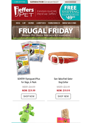 Jeffers Pet Supplies - Pet Frugal Friday - One Day Sale!