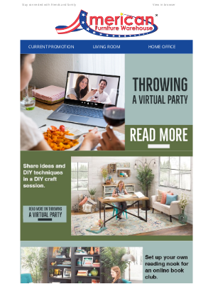American Furniture Warehouse - Top tips for throwing a virtual party 🎉