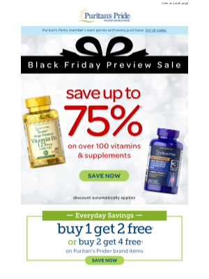 Puritan's Pride - BIG Black Friday Deals 🎁 For you: up to 75% off