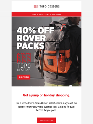 Topo Designs - 40% Off Rover Packs