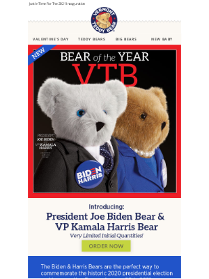 Vermont Teddy Bear - NEW! Announcing Biden & Harris Bears