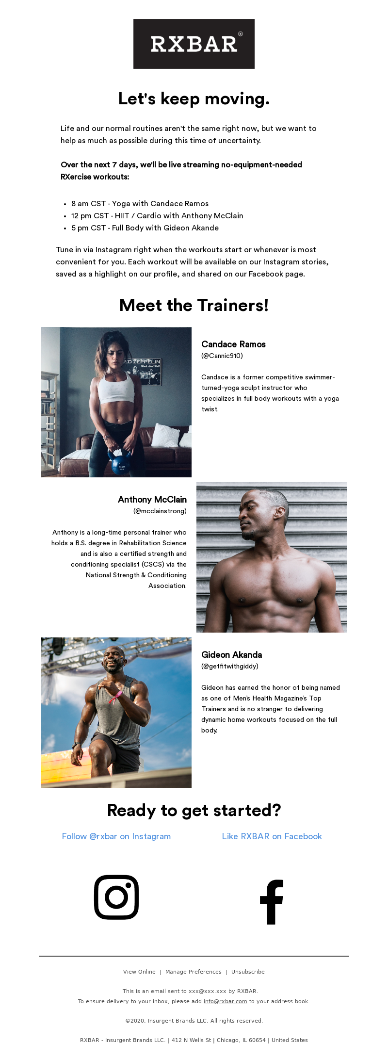 RXBAR - 7 days of free at-home workouts