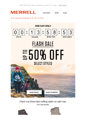 Merrell - Guess what's back?! FLASH SALE ⚡ UP TO 50% OFF
