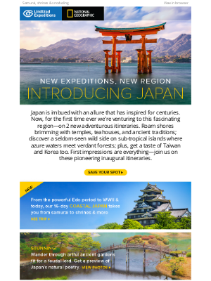 Lindblad Expeditions - Special info! It's such a lucky day: Enter the Land of the Rising Sun