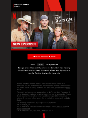 MailCharts, The Ranch Part 8 is now on Netflix