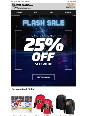 NHL - ONE DAY FLASH SALE: 25% Off Starts NOW!