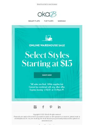 Oka-B - Online Warehouse Sale Starts Now!