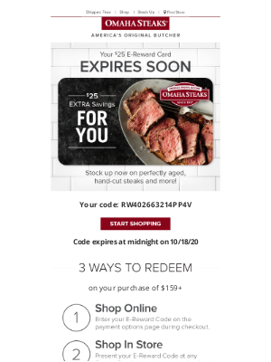 Omaha Steaks - Your EXTRA $25 OFF expires soon!
