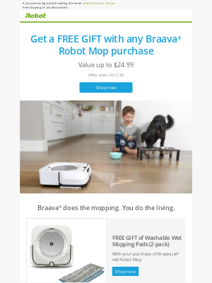 iRobot - FREE GIFT to kick start cleaning