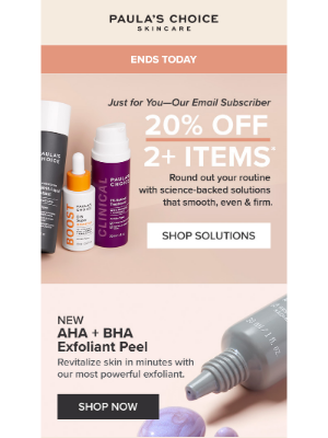 Paula's Choice - 20% Off Is (Almost) Over