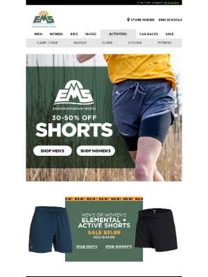 Eastern Mountain Sports - 30-50% OFF All EMS Shorts