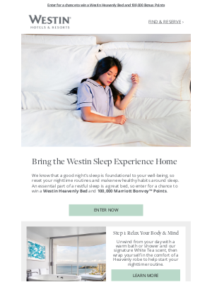 Marriott International - Win A Westin Heavenly™ Bed and Reset Your Routine