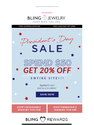Bling Jewelry - President's Day Weekend Sale is On!