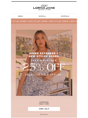 Lorna Jane (AU) - EXTENDED: Take a further 25% off sale styles 🎉