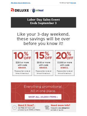 Last chance for Labor Day savings: up to 20% off!