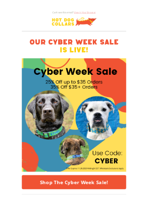 Hot Dog Collars - Sitewide Cyber Week Sale Start Now!