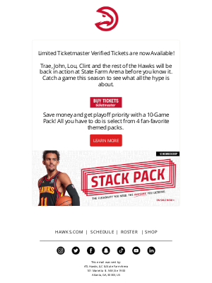 Atlanta Hawks - Limited Single Game Tickets are Now Available!