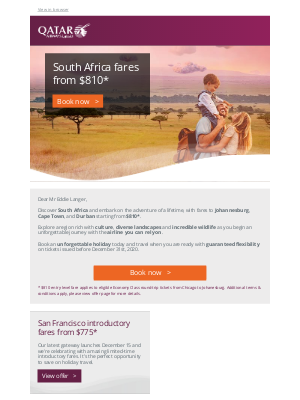 Qatar Airways - Explore South Africa with fares from $810*