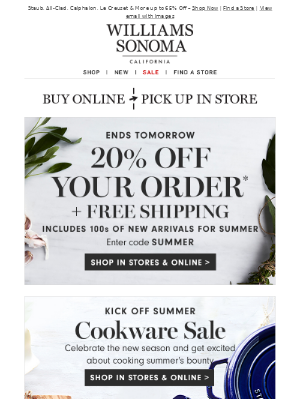 20% Off Your Order + Summer Cookware Event!