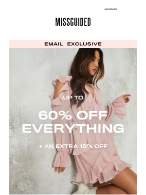 Missguided (UK) - Up to 60% off everything + extra 15% off code inside