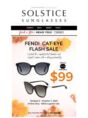 Solstice Sunglasses - FENDI CATEYE FLASH SALE - TWO COLORS $99!