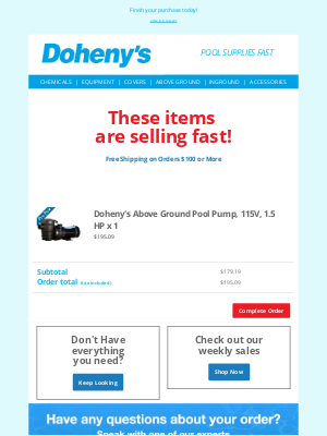 Doheny's Pool Supplies Fast - Get it while the gettin's good