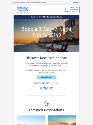 Wyndham Hotel Group - $149 for 3-Day/2-Night Trips