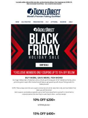 TackleDirect - ⚫️🎣 BLACK  FRIDAY CONTINUES! More Deals Added to our Holiday Sale!