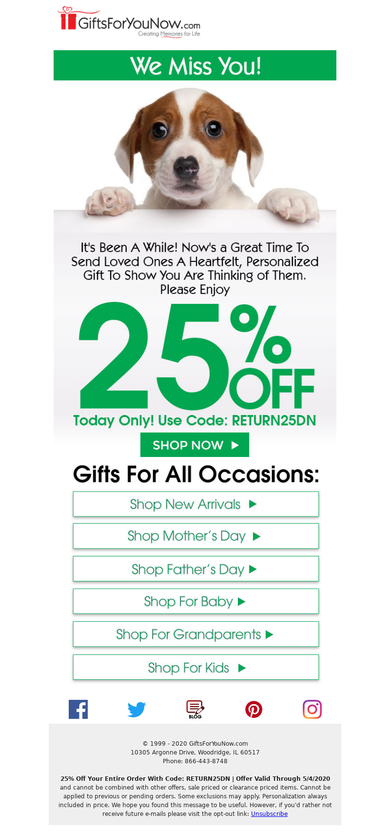 GiftsForYouNow.com - It's Been Too Long | 25% Off Your Entire Order