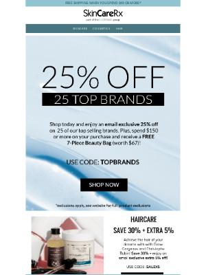 SkinCareRx - EXCLUSIVE   25% Off 25 Top Brands!