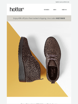 Hotter Shoes - Take a walk on the wild side and enjoy 20% off