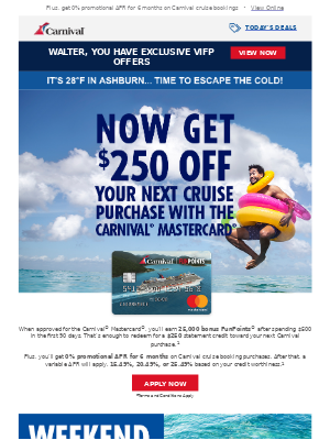 Limited Time! Earn $250 off your next cruise purchase