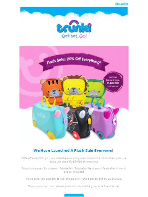 Trunki (UK) - We have just Launched a Flash Sale 🎉 20% off a Host of our Products ⭐