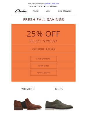 Clarks Shoes - Last chance to save on popular fall styles!