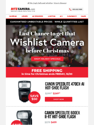 Last chance! Wishlist Cameras in time for Christmas 🎁