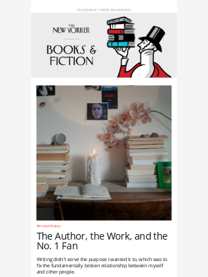 """New Yorker - Books & Fiction: Kristen Roupenian's Essay, """"The Author, the Work, and the No. 1 Fan"""""""