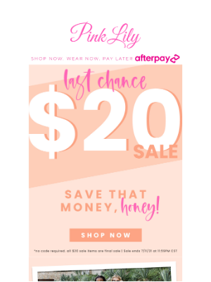The Pink Lily Boutique - everything in this email is $20!